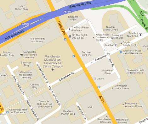 Map of MMU campus - Deaf Institute on Grosvenor Street (opposite Sand Bar)